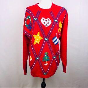 Karen Scott, Ugly Sweater,  Red, Size Large